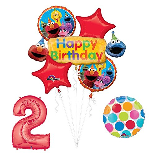 Balloon Sesame Street Balloons (Elmo and Friends Sesame Street 2nd Birthday Supplies Decorations Balloon kit)