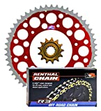 Renthal Grooved Front & Twinring Rear Sprockets & R3 O-Ring Chain Kit - 13/51 RED - Honda CRF250R, CRF250X