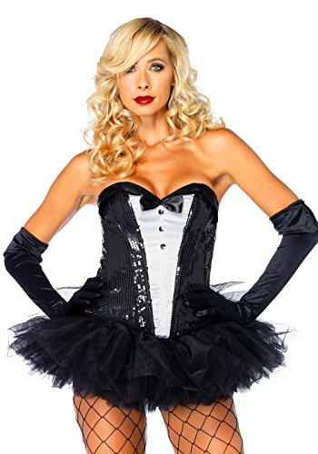 Leg Avenue Sequin Tuxedo Corset Costume Accessory, Black/White, (Sequin Tuxedo Adult Costumes)