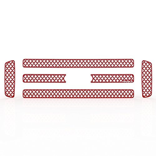 Diamond Mesh Red Powdercoat Grille Insert Trim fits: 2005-2007 Ford Superduty - Ferreus Industries - TRK-124-04-Red (Grill Cover For Superduty)