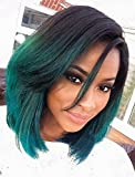 Sunwell Fashion Ombre Short Bob Synthetic Lace Front Wigs Natural Straight Heat Resistant For Black Women (Black to Green, 4 Size Option)
