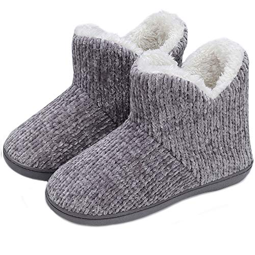 TUOBUQU Women Warm Bootie Slippers Fluffy Plush Indoor Outdoor Winter Booty Slippers Grey S ()