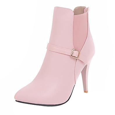 UH Damen Spitze Stiefeletten Chelsea Boots mit Stiletto und Fell Reißverschluss Schnalle Elegante Schuhe