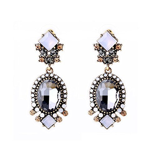 Statement Vintage 50s Lux Dangle Drop 1920 Cubic Zirconia Crystal Earrings for Women, Silver
