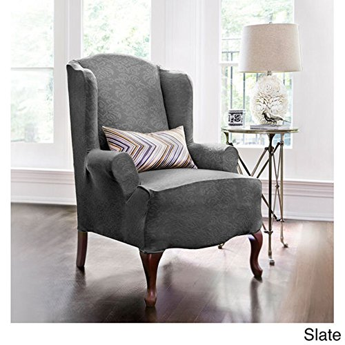 LEIGE Stretch Shorty Studio Sized Wing Chair Slipcover Set Furniture Protector (Grey)