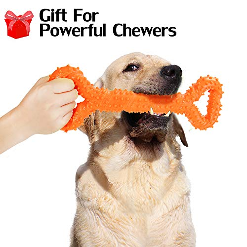 Hipat Dog Chew Toy for Aggressive Chewers, 13 Inch Large Solid Rubber Chew Toy with Soft Massaging Surface for Tooth…