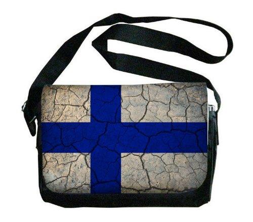 Finland Flag Crackled Design Messenger Bag