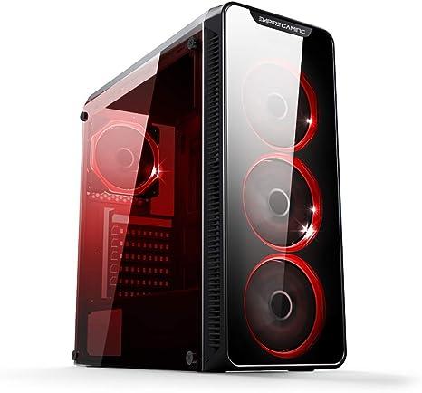 EMPIRE GAMING Warmachine - Caja PC Gamer –Torre mediana ATX - 4 ventiladores silenciosos - LED RGB Dual Ring: retroiluminación 11 modos - Parte delantera y pared de vidrio templado: Amazon.es: Informática