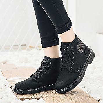 Los botines de moda otoño e invierno Martin botas de Europa y los Estados Unidos puntilla botas botas de nieve, negro, 35: Amazon.es: Deportes y aire libre