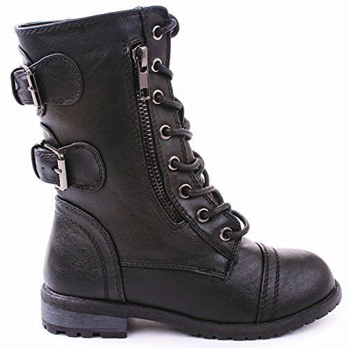 JJF Shoes Mango-61 Kids Black Combat Lace Up Zip Grommet Buc