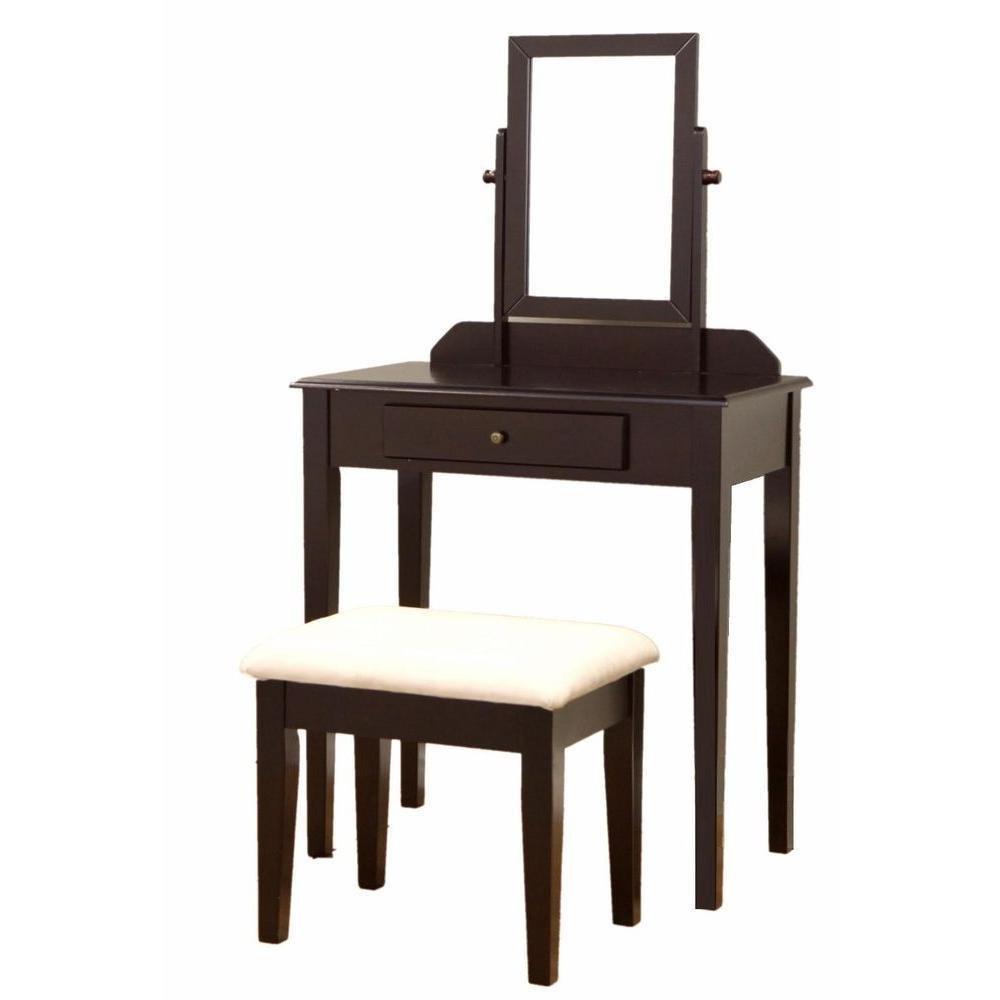Amazon.com: Vanity Table Set Mirror Stool Bedroom Furniture Dressing ...