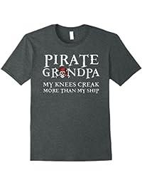 Mens Pirate Grandpa T-Shirt, Knees Creak More Than My Ship