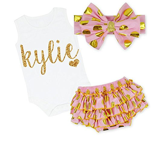 G&G - Cute Personalized Baby Girl 3pc Clothing Set Outfit Pink and Gold (0-3 Months) by All That Glitters and Gold