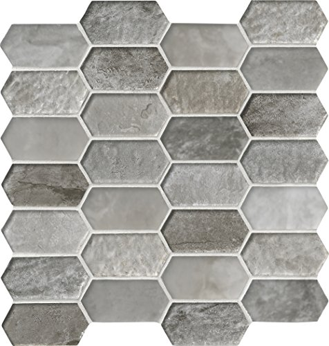 M S International Savoy Picket Pattern 11.72 In. X 11.93 In. X 8 mm Glass Mesh-Mounted Mosaic Tile, (9.7 sq. ft., 10 pieces per case)
