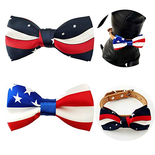 PET SHOW 2pcs/Pack US Flag Patriotic Small Dogs Bowties Collar Attachment Bow Ties for Independence Day June 14 Flag Day Holiday Party Grooming Accessories ()