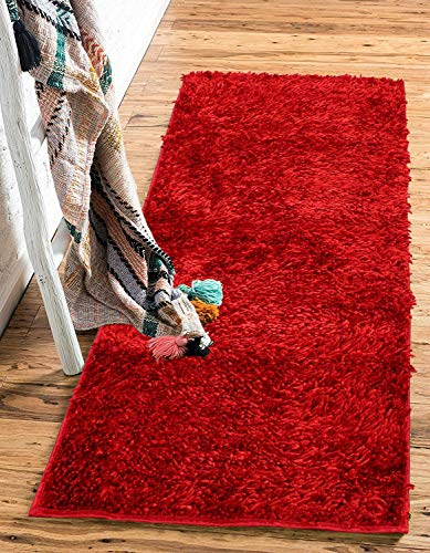 Global Home Chenille Ultra Soft Touch, Anti Slip Floor Carpet Mats for Home (16X24 Inch, Red)