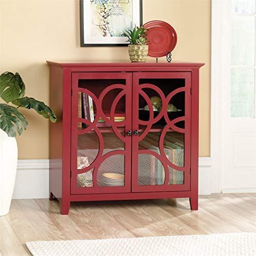Sauder Shoal Creek Elise Display Cabinet, Plum Red finish