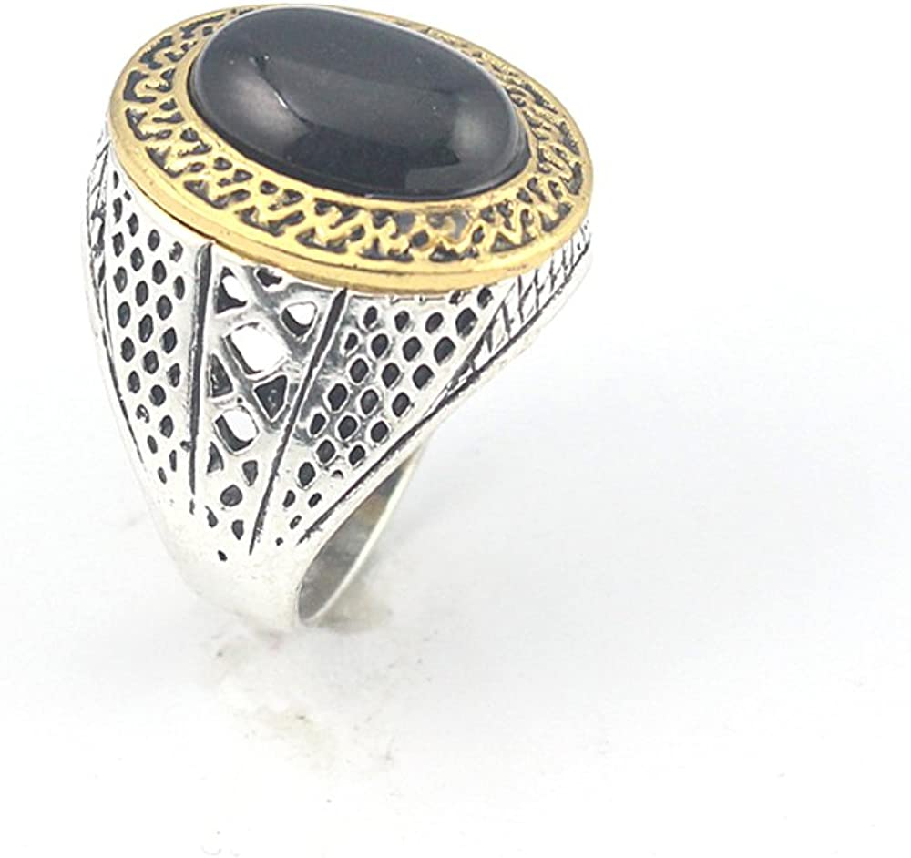 HIGH FINISH BLACK ONYX FASHION JEWELRY SILVER PLATED AND BRASS RING 8 S23157