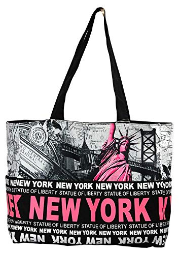 910517d88be08 Amazon.com  Robin Ruth NY Statue of Liberty Skyline Canvas Tote Shoulder  Bag Black Fuchsia  Shoes