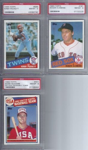 1985 Topps Baseball Complete 792 Card Set with Psa 8 Graded Rookies Roger Clemens, Mark Mcguire , Kirby - Card Topps Set Baseball 1985