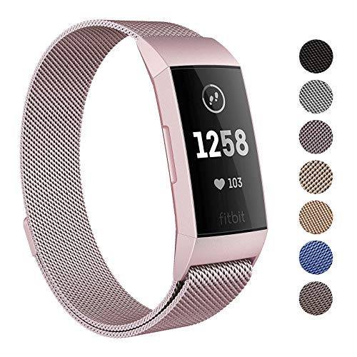 SWEES Metal Bands Compatible Fitbit Charge 3 and Charge 3 SE, Milanese Stainless Steel Magnetic Small (5.5 - 8.5) Large (6.1 - 9.9) Replacement Strap for Fitbit Charge 3 Fitness Tracker Women Men