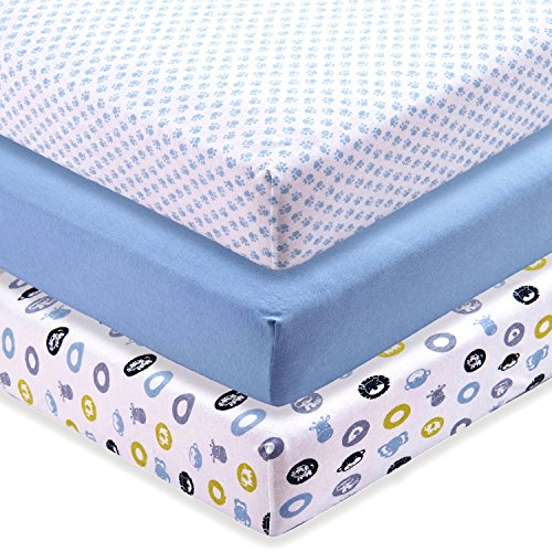 M&Y Premium Fitted Crib Sheets (3-PACK) Unisex | Extra-Soft, Stretchy 100% Jersey Knit Cotton | Plus Free Breastfeeding Guide | Fits Standard Crib Mattress for Babies & Toddler Mattress (52x28x9 inch)