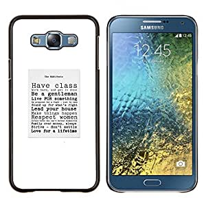 Caballero con clase Cita Sir texto del cartel- Metal de aluminio y de plástico duro Caja del teléfono - Negro - Samsung Galaxy E7 / SM-E700