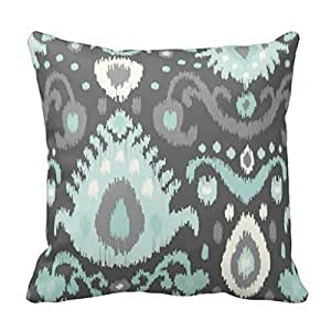 Amazon.com: Soft Flannel Decorative Throw Pillow Covers Gray and Aqua Ikat Print Couch Cushion ...