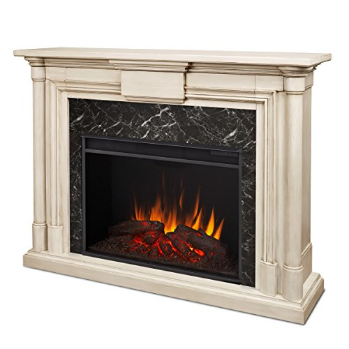 Real Flame 8030-WW Maxwell Grand Electric Fireplace, Large, Whitewash (Electric White Wood Fireplace)