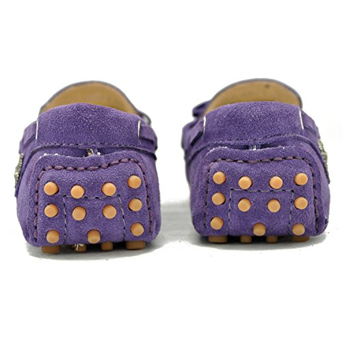 Minishion TYB9602 Womens Casual Suede Leather Loafers Driving Shoes Penny Moccasins Flats Light Purple gy4o7