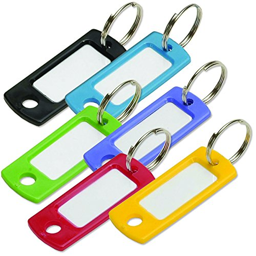 Lucky Line Colored Key Tag with Ring, Assorted Colors, 12 Pack (16929) - Key Tag System