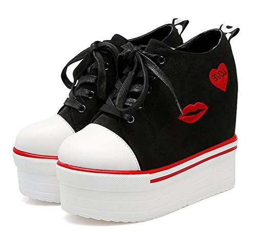 Aisun Women's Daily Lace Up Heighten Zipper Sneakers Black F8MVzNn