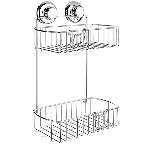 Suction Shower - HASKO accessories Shower Caddy with Suction Cup - 304 Stainless Steel 2Tier Basket for Bathroom - Rustproof (Chrome)
