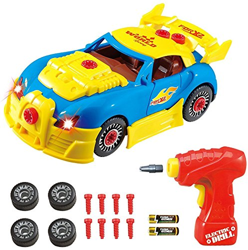 Take Apart Toy Racing Car Kit For Kids TG642 (Version2!!) - Build Your Own Car Kit Toy For Boys & Girls Aged 3+ - 30 Parts With Realistic Sounds & Lights By ThinkGizmos (Trademark Protected) (Car Five Kit)
