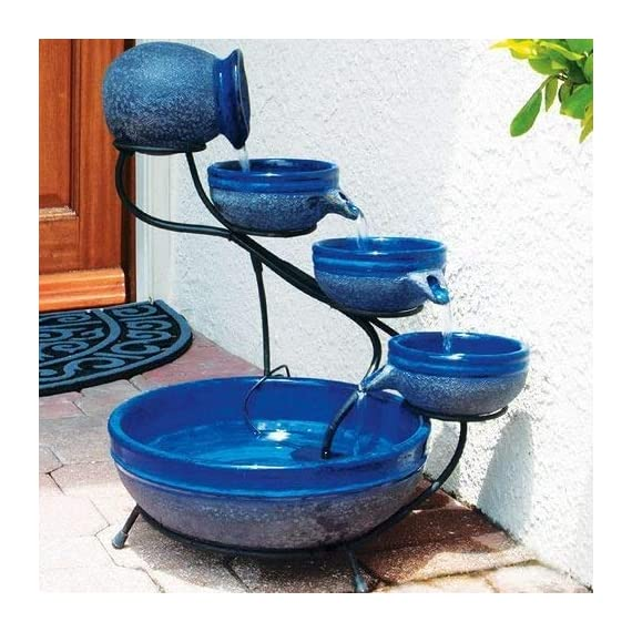 "Smart Solar 23967R01 4-Tier Solar Powered Cascading Fountain, Blueberry And Rustic Blue,  Powered By A Separate Included Solar Panel Along With a 10-Foot Cable - Assembled Dimensions: 17.5"" L X 15.5"" W X 22.0"" H  Solar Powered 4 Tier Cascading Fountain Creates A Relaxing Atmosphere On Your Patio, Deck, Balcony Or In Your Garden - patio, outdoor-decor, fountains - 51qnQbFp4EL. SS570  -"
