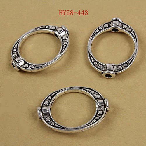 Hybeads 100pcs 58-443 Antique silver Metal Frame Beads in Middle Zinc Alloy Connector Split Rings Spacers Beads