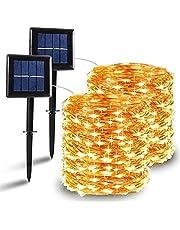 [2 Pack] Guirnaldas Luces Exterior Solar, Nurkoo Luces Led Solares Exteriores Jardin 12m 120 LED 8 Modos Cadena de Luces Decoracion para Navidad, Terraza, Fiestas, Bodas, Patio, Jardines, Festivales