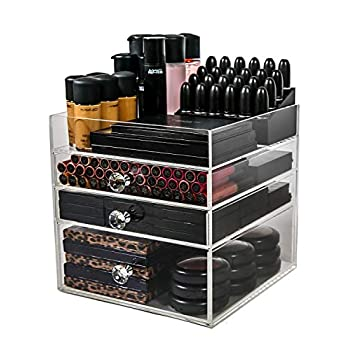 Image of N2 Makeup Co Acrylic Makeup Organizer Cube   3 Drawers Storage Box for Vanity Tables Home and Kitchen