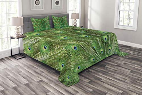 Lunarable Peacock Bedspread Set King Size, Peacock Tail Feathers Ornament Birds Nature Colorful Animal Wilderness, Decorative Quilted 3 Piece Coverlet Set with 2 Pillow Shams, Green Blue Pale Yellow by Lunarable