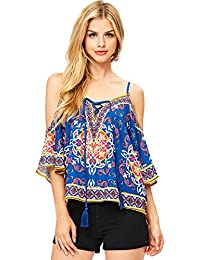 Womens Off Shoulder Boho Printed Blouse