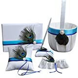 5 Pcs/lot Romantic Wedding Decoration Set, Peacock Feather Ribbon Pearl Wedding Ring Pillow+ Girls Flower Basket +Guest Book + Pen Set + Garter for Elegant Wedding Party Favor Decor Accessories