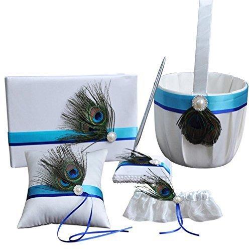 - 5 Pcs/lot Romantic Wedding Decoration Set, Peacock Feather Ribbon Pearl Wedding Ring Pillow+ Girls Flower Basket +Guest Book + Pen Set + Garter for Elegant Wedding Party Favor Decor Accessories