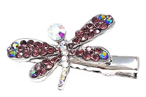 A-Ha Crystal Dragonfly Hair Clip - Purple - Crystal Dragonfly Barrette