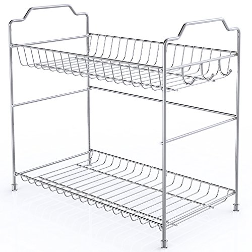 2 Tier Spice Rack Organizer, Packism Bathroom Countertop Organizer with 3 Hooks Kitchen Cabinet Shelf Storage Cabinet Organizer Spice Jars Bottle Holder, Metal, Silver