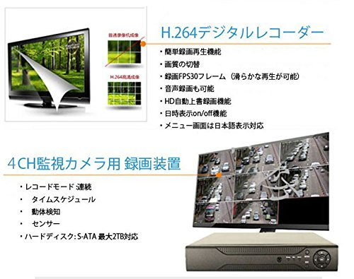 4CH防犯カメラ用DVRレコーダー H264 スマホ/パソコンHDD対応遠隔監視録画 DVR 1TB HDD内臓 VGA/HDMI端子付 B00VTI7R0I