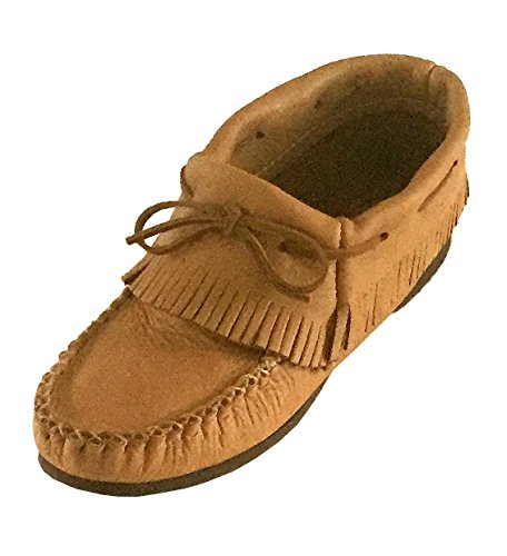 Womens Genuine Moose (Bastien Industries Women's Fringe Maple Tan Moose Hide Leather Moccasin Shoes (7))