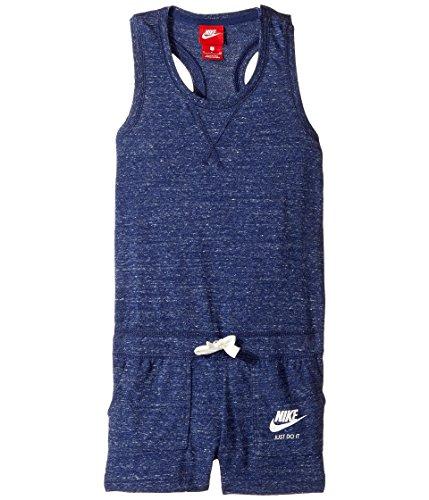 NIKE Kids Sportswear Vintage Romper Little Kids/Big Kids Binary Blue/Sail/Sail Girl's Jumpsuit Romper (Medium)