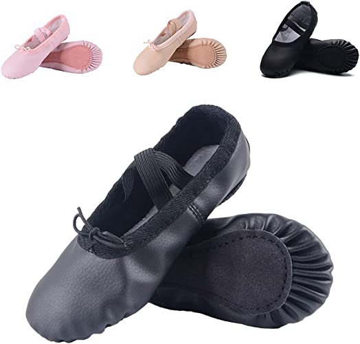 Amazon.com: Ruqiji - Zapatillas de ballet de piel para niñas ...