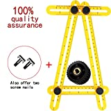 MULGORE Angleizer Template Tool Multi-Angle Measuring Ruler Measures All Angles General Angleizer Template Ruler and Forms Angle-izer Angle Template Tool for Kids,Builders(Yellow) (yellow)