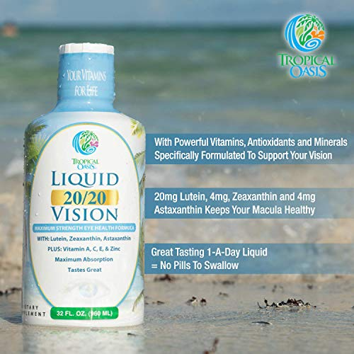 Liquid 20/20 Vision – Eye Vitamin Formula w/20mg Lutein, 4mg Zeaxanthin, 4mg Astaxanthin for Vision Support –Max…